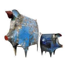 Recycled Metal Pig Sculptures, 2-Piece Set