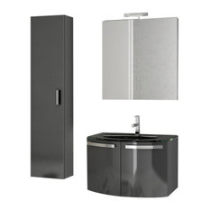 ACF   28 Inch Glossy Anthracite Bathroom Vanity Set   Bathroom Vanities And  Sink Consoles