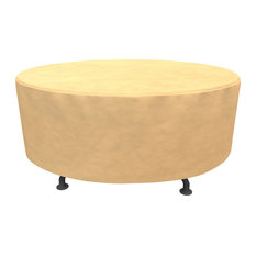 """Budge All-Seasons Round Patio Table Cover, 72""""x28"""", Tan"""