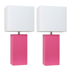Elegant Designs Set of 2 Modern Leather Table Lamps White Fabric Shades Hot Pink