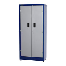"""2-Door 66"""" Tall Storage Cabinet, Blue and Gray"""