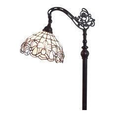Amora Lighting Tiffany Style AM283FL12B Floral Design Floor Reading Lamp
