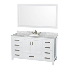 "Sheffield 60"" White Single Vanity With Carrera Marble Top, Undermount Oval Sink"