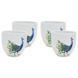 Peacock Head Coffee Cups, Set of 4