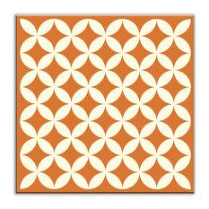 "4.25""x4.25"" Folksy Love Satin Decorative Tile, Needle Point Orange"