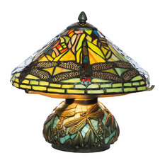 """10.5"""" Tiffany Style Dragonfly Accent Lamp, Green"""