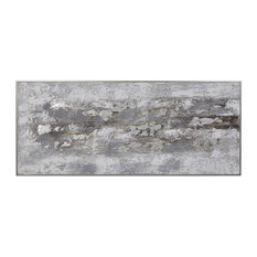 "Modern Industrial Stone Abstract Painting Wall Art | Oversize 74"" White Gray"