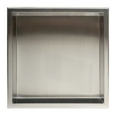 "Square Single Shelf Bath Shower Niche, 16""x16"", Brushed Stainless Steel"