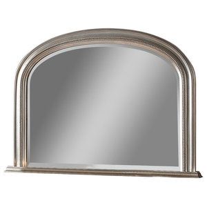 Beaded Overmantel Wall Mirror, 79x112 cm, Silver
