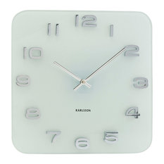 Square Vintage-Style Wall Clock, White