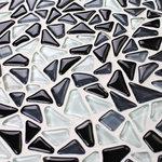 "Bathselect - Small Triangular Patterned Tile For Wall Back-Splash Kitchen Bath  12""x12"" Sheet - Black White Baroque Pattern Crystal Glass Mosaic Tiles For Mesh Backing Bathroom Wall Floor Kitchen Backsplash Tile."
