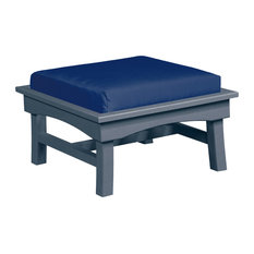 Bay Breeze  Large Ottoman w/ Cushion, Slate Gray/Spectrum Indigo Cushion
