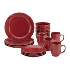 Cucina Dinnerware 16-Piece Stoneware Dinnerware Set, Cranberry Red