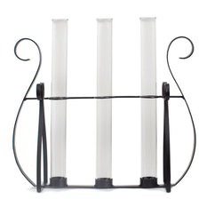 Couronne Co. Metal Harp Stand with Tube Glass Vases