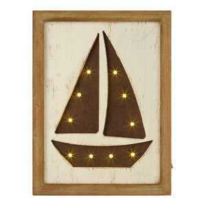 Framed LED Sailboat Picture, 30x76 cm