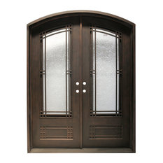 "MCM3 - Wrought Iron Front Door, 99.5""x64.5"", Matt Black - Front Doors"