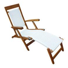 Teak Narmada Outdoor Steamer Chair With White Webbing