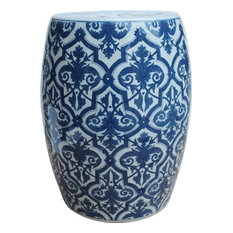 Garden Stool Floral White Blue Colors May