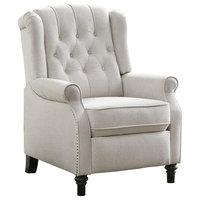 Pushback Recliner Chair with Nailhead Trim, Cream