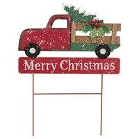 "24.02""H Iron/Wooden Christmas Truck Yard Stake"