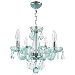Worldwide Lighting Clarion Collection 4 Light Chrome Finish and Coral Blue Turquoise Crystal Chandelier 16 D x 12 H Mini