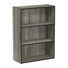 Furinno Pasir 3-Tier Open Shelf Bookcase, French Oak Gray, 11208GYW