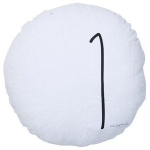 Numbers Round Linen Scatter Cushion, White and Black, No. 1