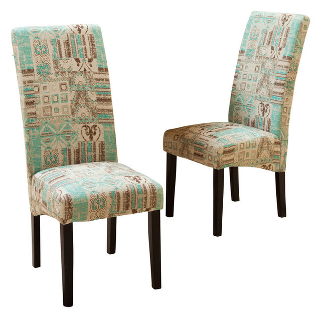 Wonderful India Geometric Fabric Dining Chairs, Teal, Set Of 2