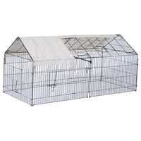 "PawHut 87""x41"" Outdoor Covered Galvanized Metal Dog Kennel Playpen"