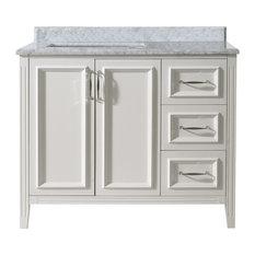 Ari Kitchen And Bath   Jude French Bathroom Vanity, White, Single, 42  42 Inch Bathroom Vanity