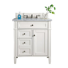 """Brittany 30"""" Single Vanity Cottage White, 3 cm Carrara Marble Top"""