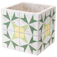 Cement Arrow Planter, Green and Yellow