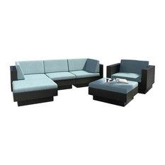 CorLiving Park Terrace 6-Piece Textured Black Weave Double Armrest Patio Set