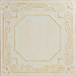"Decorative Ceiling Tiles - 20""x20"" Topkapi Palace, Styrofoam Ceiling Tile, White Washed Gold - Goes Over Popcorn And Most Ceiling Surfaces, Styrofoam, 20x20 (2.7 sqft), Adds Insulation, Easy Install, Light Weight, No Expensive Tools Needed, Paintable With Any Water-Based Paint"