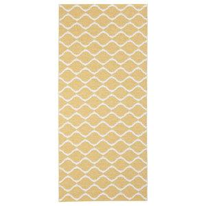 Wave Woven Vinyl Floor Cloth, Yellow, 70x200 cm