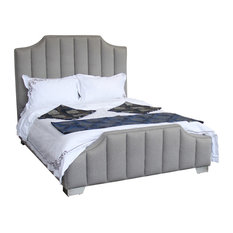 Camelot Queen Bed With Polished Stainless Steel and Gray Sheepwool