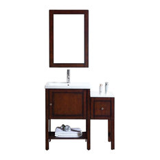 DAWN   Dawn Solidwood And Plywood Frame Brown Black Finish Mirror   Bathroom  Vanities And Sink