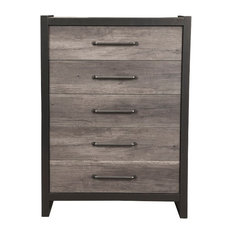 Chest with 5 Drawers In Rubberwood Black And Gray
