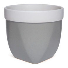 "Versa Ceramic Pot, Grey 6"" High"