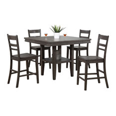 5-Pc Square Pub Table Set with Storage Shelf in Gray