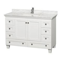 "Acclaim 48"" White Vanity White Marble Top, No Mirror, Undermount Square Sink"