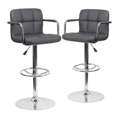 Contemporary Gray Quilted Vinyl Adjustable Height Barstools Set Of 2
