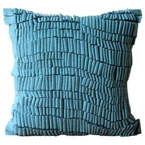Luxury Textured 3D Blue Accent Cushions, Felt 40x40 Cushion Cover, Texturize