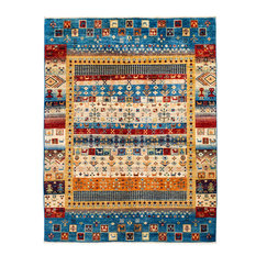 """Tribal Hand Knotted Area Rug, Blue, 5'2""""x6'10"""""""
