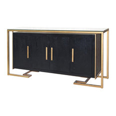 New Pacific Direct Inc.   Firenze Floating Sideboard 4 Doors Gold Frame,  Espresso