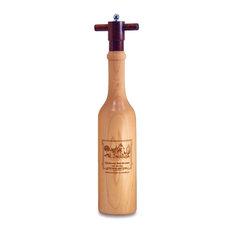 Engraved Wine Bottle Shaped Pepper Grinder, Maple Wood, Chateau Bordeaux