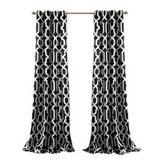 Edward Trellis Room Darkening Window Curtain Set, Black