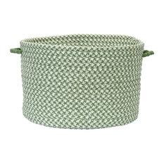 "Outdoor Houndstooth Tweed, Leaf Green 18""x12"" Utility Basket"