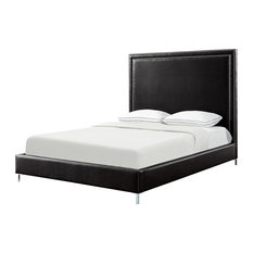 Giovanna Nailhead Trim Platform Bed, Black Leather Pu, King
