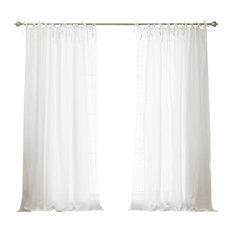 Abelia Belgian Flax Linen Daisy Lace Border Curtains